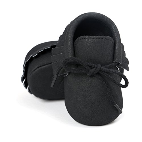RVROVIC Baby Boys Girls Moccasins Soft Sole Tassels Prewalker Anti-Slip Shoes (M:6~12 Months, PU Black) - Black Boys Moccasin