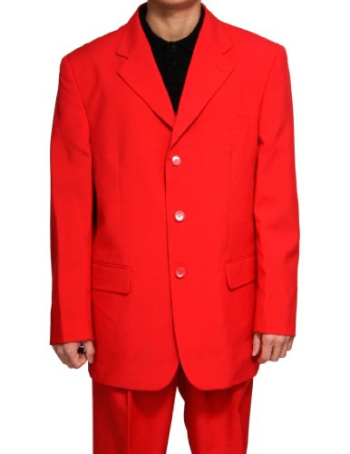 New Men's 3 Button Single Breasted Red Dress Suit (Fancy Dress Outlet)