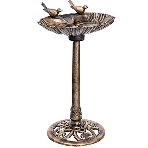 VIVOHOME 28 Inch Height Polyresin Lightweight Outdoor Double Birds Garden Bird Bath Copper (Pedestal Feeder Bird)