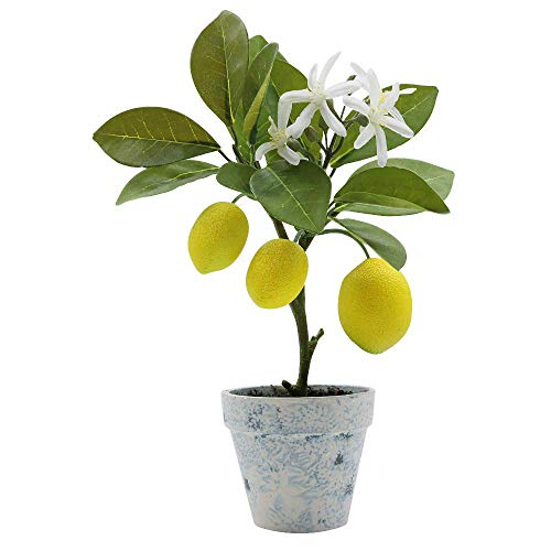 Artificial Lemon Tree Plant Topiary, Potted Fake Plants Flower Home Party Garden Decoration