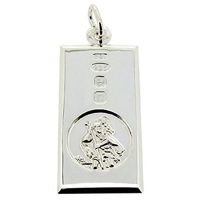 TOC Sterling Silver St Christopher Hallmarked Ingot Pendant Necklace 18 QAAYK3vi