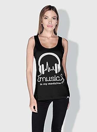 Creo Music Is My Medicine Trendy Tanks Tops For Women - M, Black