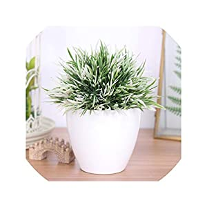 Artificial Plant Potted Set 32-Headed Phoenix Simulation Plant Flower Ball Grass Ball Fake Flower Home Wedding Decoration,White 58