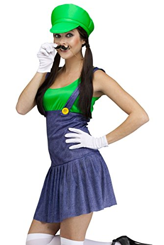Fun World Costumes Women's Pretty Plumber Adult Costume, Green/Blue, Small/Medium