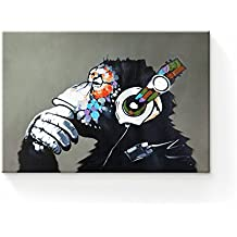 Modern Framed Gorilla Monkey Music Wall Decoration/Home Decor Oil Painting on Canvas