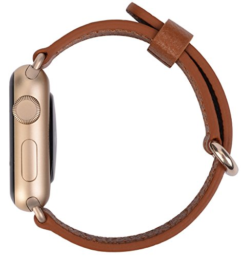 Apple Watch Band 38mm Women - PEAK ZHANG Light Brown Genuine Leather Replacement Wrist Strap with Gold Adapter and Buckle for Apple Watch Series 2/1/Edition/Sport by PEAK ZHANG (Image #2)