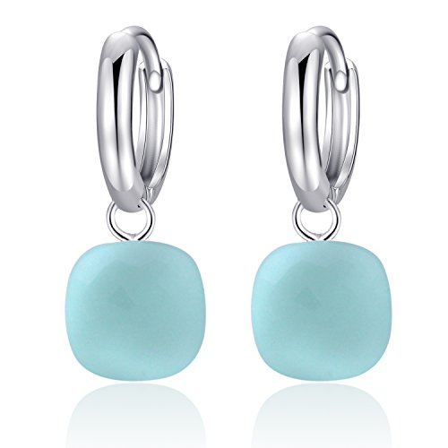 MetJakt Classic Blue Topaz Drop Earrings Solid 925 Sterling Silver Pendant Earring for Women's Occasions Fine Jewelry (Light Blue)