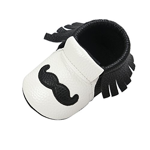Itaar Baby Moccasins PU Leather Soft Sole Tassel Crib Shoes with Cute Mustache Print for Infant Toddler Boys Girls