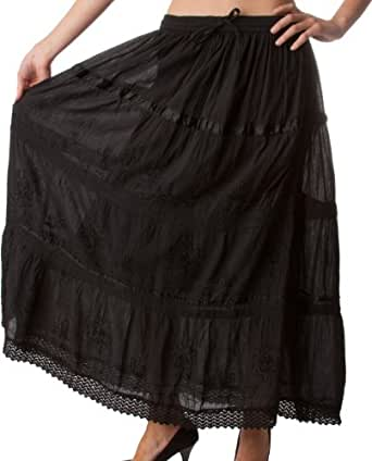 AA554 - Solid Embroidered Gypsy / Bohemian Full / Maxi / Long Cotton Skirt - Black/One Size