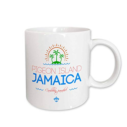 (3dRose Alexis Design - Caribbean Beaches Jamaica - Pigeon Island, Jamaica elegant text, images. Good travel gift - 11oz Mug (mug_313578_1))
