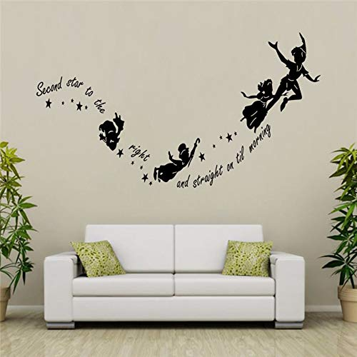 liujingge Flying Witches Second Star to The Right Black Wall Decals Bedroom Home Decor Vinyl Wall Stickers Halloween Decorative Wallpaper 5729Cm ()