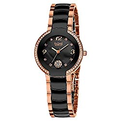 Women's Crystal Bezel On Ceramic Diamond Marker Watch