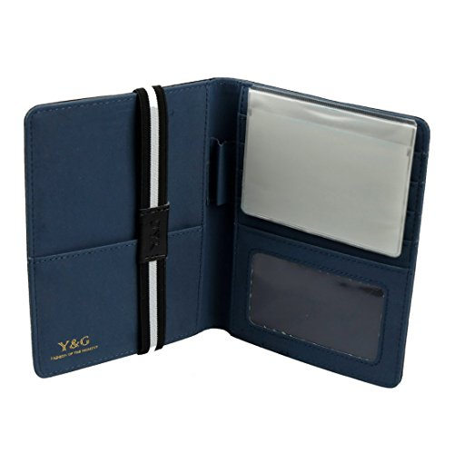 Y&G PW1012 Black Blue Certificate Store Classic Formal Wear Leather Passport Holder Travel Fashion Valentines Day Gifts