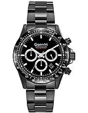 Gigandet Race King Herrenuhr Wasserdicht 100m Schwarz Analog Quarzwerk mit Edelstahl-Armband Chronograph G33-003