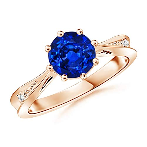 Tapered Shank Blue Sapphire Solitaire Ring with Diamonds in 14K Rose Gold (7mm Blue Sapphire)