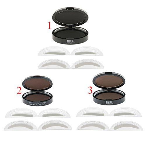 MagiDeal 3 Piezas Ceja Polvo Estamper Potenciador Herramienta de Maquillaje con Plantilla de Tallador de Ceja