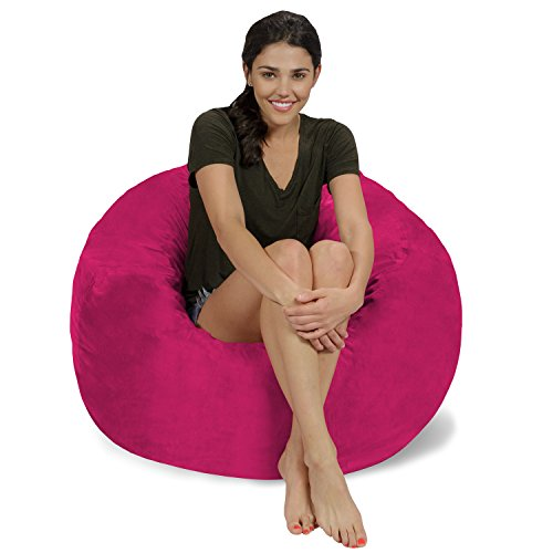 (Chill Sack Bean Bag Chair: Large 3' Memory Foam Furniture Bean Bag - Big Sofa with Soft Micro Fiber Cover - Pink Micro Suede)