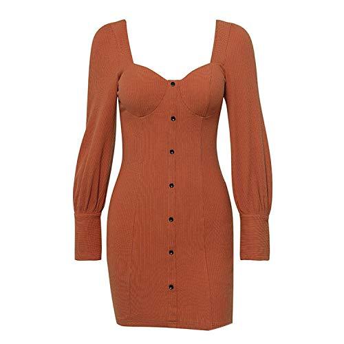 Summer-lavender Front Button Sexy Dress Women Long Sleeve Bodycon Mini Dress Autumn Casual Dresses,Pumpkin,S