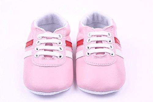 YICHUN bebé niña suave zapatos zapatillas zapatos de Prewalker cuna zapatos de ocio rayas rosa rosa Talla:Sole Length:12cm/4.7 inches rosa