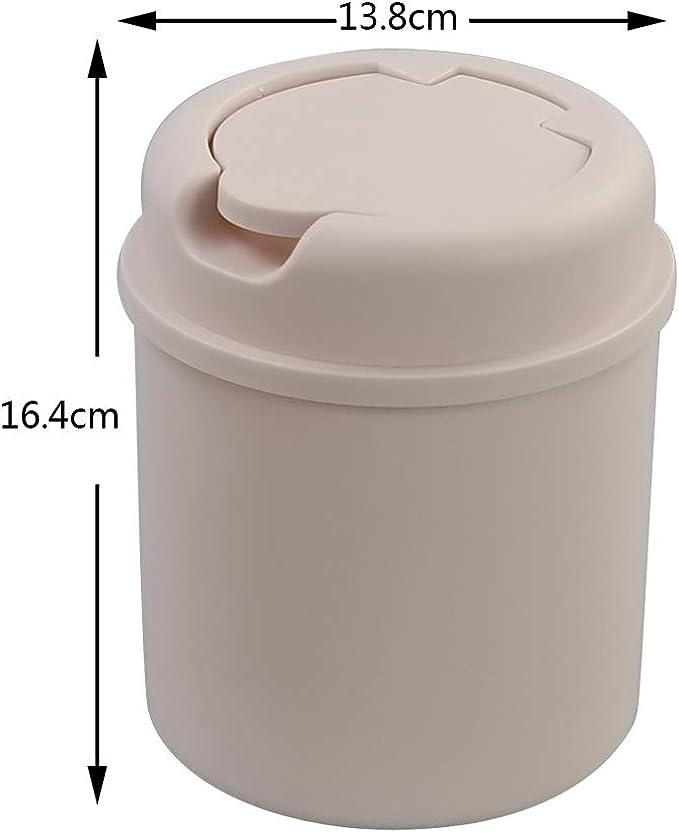 Annkky Mini Papelera Escritorio con Tapa Cubo de Basura de Plastico Blanco