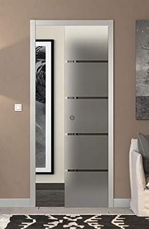 Puerta corredera desplegable de cristal satinado con rayas 90 x 210: Amazon.es: Bricolaje y herramientas