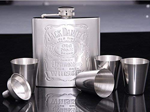 Portable Stainless Steel Wine Bottle Super Classy Pocket Hip Flask for Liquor Up To 200ml with Funnel and 4 Shot Glasses for Travel//Adventure//Gift for Men and Women Beautiful Box Included 7OZ Silver