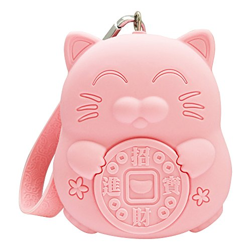 Benealways Silicone Coin Purse   Small Volume Large Capacity   Lucky Cat  Pink