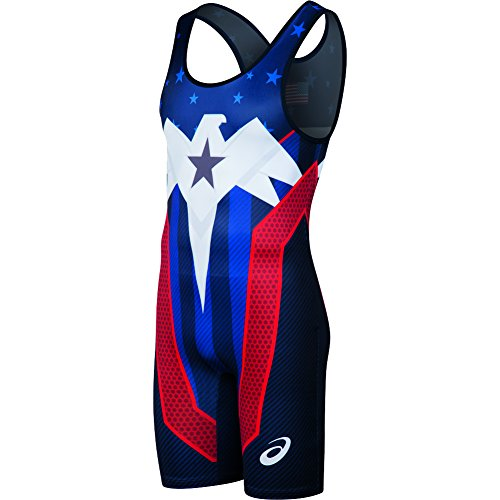 ASICS Lightning Strike Singlet, Navy/Red, - Singlet Running Usa