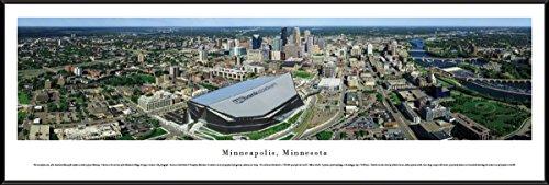 Blakeway Worldwide Panoramas Minneapolis, Minnesota with US Bank Stadium - Blakeway Panoramas Skyline Posters with Standard Frame, (City Glass River Mn)