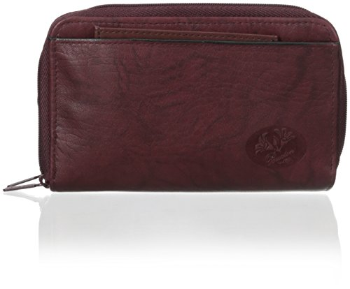 Buxton Heiress Double Zip Organizer Wallet, Burgundy, One Size (Zipper Organizer Double)