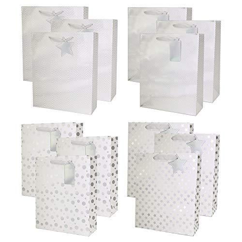 UNIQOOO 12Pcs Premium Assorted Sliver Metallic Gift Bags Bulk Large 125x105X4 100 Recyclable