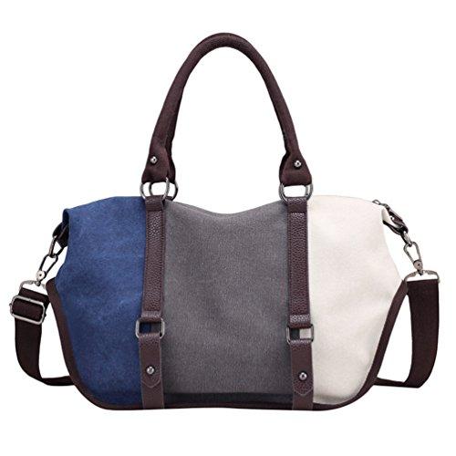 LINNUO Trendy Mujere Bolsos de Mano Lona Bolso de Bandolera Bolso Shopper Trabajo Azul&Gris&Blanco