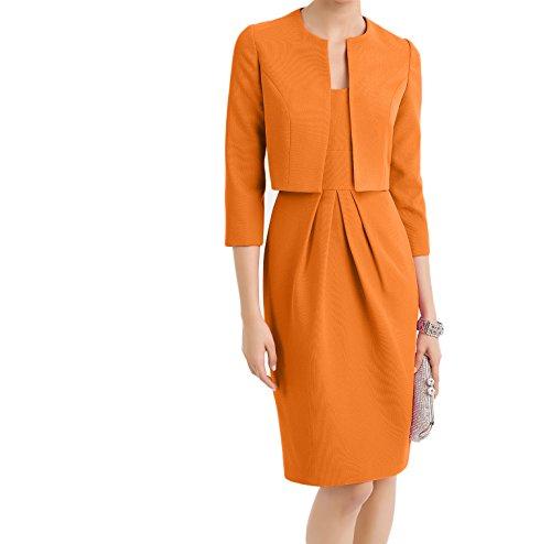 Abendkleider Damenmode Satin Herrlich Festlichkleider Charmant Rosa Knielang Etui Orange Ballkleider Damen WZOq6PnR