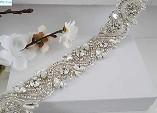 ParDecor Crystal Rhinestone Trim by The Yard Wholesale Bridal Trim Rhinestone Banding Crystal Trim Metal Rhinestone Applique Cupchain