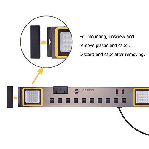 Power Strips 10-Outlet With LED Worklight Surge Protector 4ft Cord Dual Smart