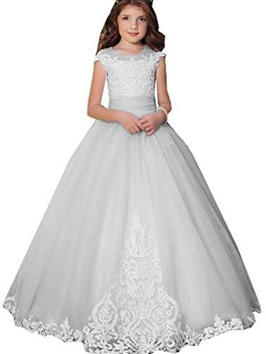 Ivy Lisa Satin Pocket Long Flower Ball Dress Long Sleeve Tail Girl Party Dress Light Gray]()
