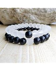 2019 iN-Bracelet Black Onyx jade & Transparent Stones Distance Bracelet for Unisex