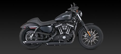 14-19 HARLEY XL883N: Vance & Hines Twin Slash Rounds Slip-On Exhaust (Black / 3'') by Vance & Hines (Image #5)