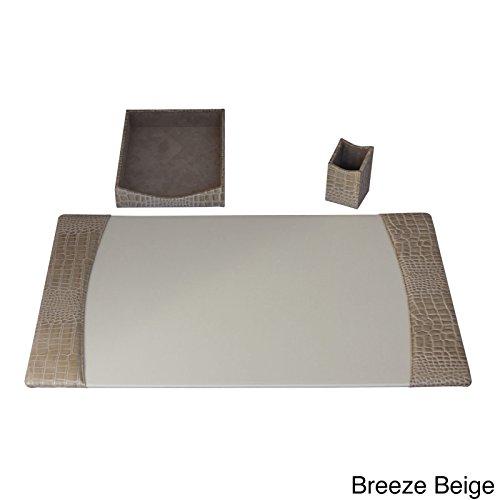 Dacasso Protacini Italian Patent Leather 3-Piece Desk Set Tan by Dacasso