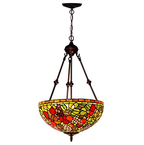- ChuanHan Tiffany Style Chandelier/Pendant Lamp, 16-Inch Orchard Stained Glass Chandelier,Zinc Alloy Boom E27 Pendant Lights, b