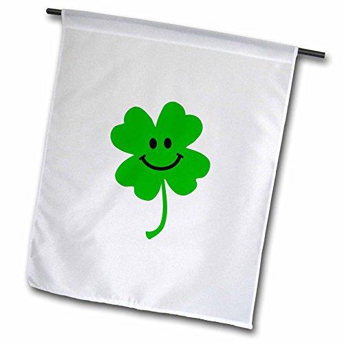 3dRose fl_123145_1 Happy Shamrock Cute Smiley Face Lucky Four Leaf Clover Irish Good Luck Charm Green Ireland Garden Flag, 12 by 18-Inch