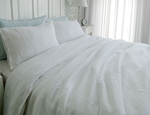 100% pure French flax linen stone garment washed 3 pcs solid color queen duvet cover set white (Flax Color)