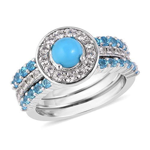 Set of 3 Band Ring 925 Sterling Silver Sleeping Beauty Turquoise Neon Apatite Jewelry for Women Size 7