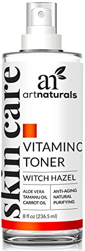 ArtNaturals Vitamin C Hydrating Facial Toner Organic Ingredients including Aloe Vera, Witch Hazel, Tea Tree and MSM, Anti Aging Pore Minimizer for Face, 8 oz.
