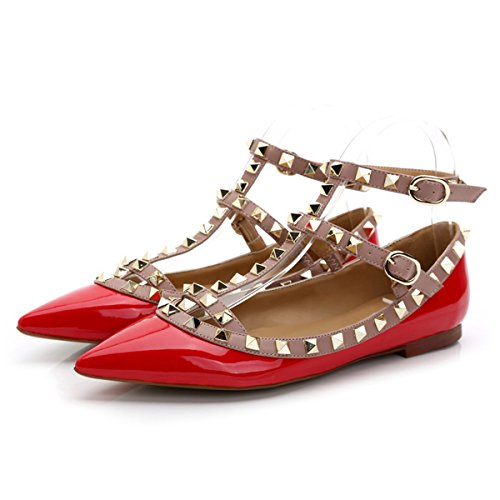Chris-T Womens Flats Rivets Pearl Studded T-Strap Ankle Buckle Shoes Red Patent J8HhgfRsqw