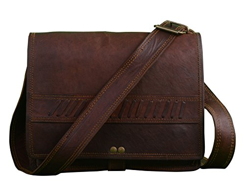 c7147f2464 Shaista Handicraft Vintage Soft Leather Messenger Real Laptop Satchel Bag  Genuine Briefcase 18 Inches Brown