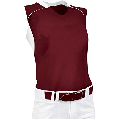 ChamproレディースノースリーブレーサーバックSoftball Jersey B00JARC0VG Medium|マルーン/ホワイト マルーン/ホワイト Medium