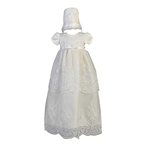 Lito Baby Girls White Embroidered Sequin Organza Long Baptism Gown 3-6M