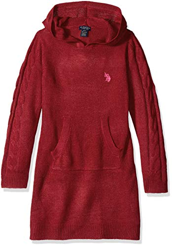 U.S. Polo Assn. Girls' Little Casual Dress, Sweater Dark red, 4
