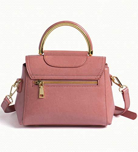 SHENHAI New Bolso Rosa Leather Shoulder para Bolso Mujer Portable para Bag Crossbody señora Marrón Bolso Wild Lady rdrWFRqEn